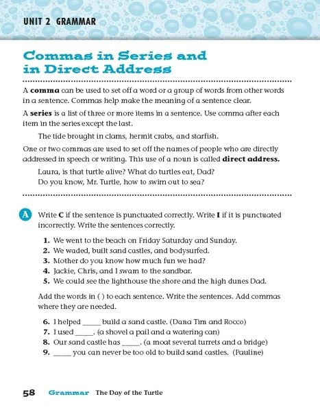 Commas In Series And In Direct Address Worksheet