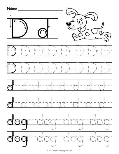 Free Printable Tracing Letter D Worksheet