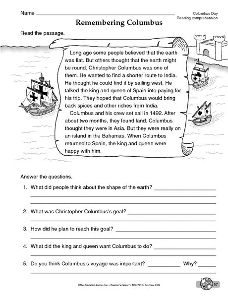 Columbus Day Worksheet  Reading Comprehension (reading