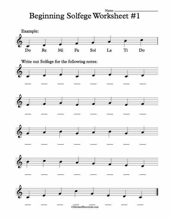 Free Solfege Worksheets For Classroom Instruction In 2018