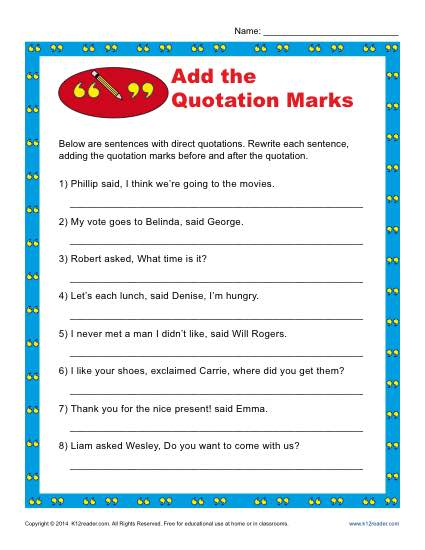 Add The Quotation Marks Worksheet