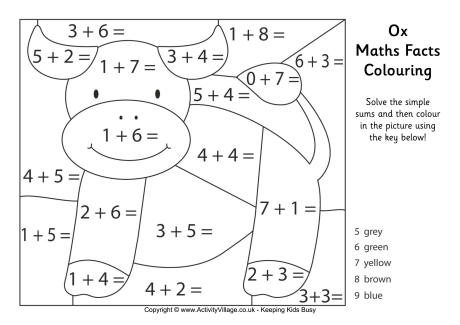 Adding Coloring Sheets Maths Facts Colouring Pages Printable