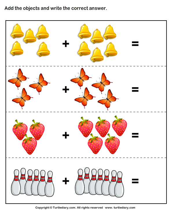 Addition Using Objects Worksheet