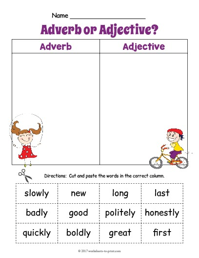 Adjective Adverb Sort