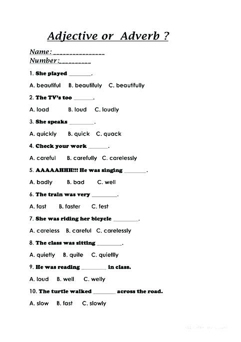 Adverb Worksheets Grade Adjective Or Free Printable For 5th