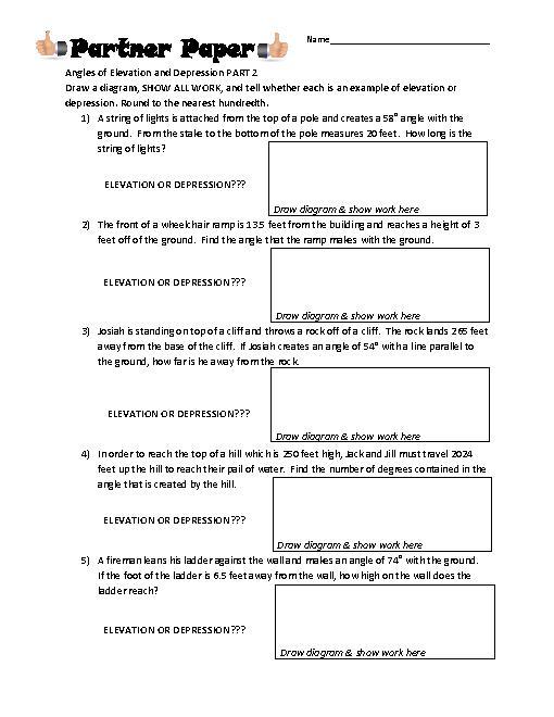 Angles Of Elevation & Depression Partner Paper Part 2