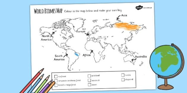 World Biomes Map Colouring Worksheet   Activity Sheet