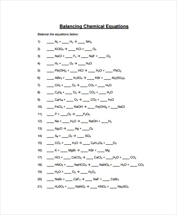 Balance Equations Worksheet Answers Worksheets For All