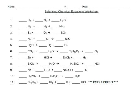 Balancing Chemical Equation Worksheet Equations Balanced And