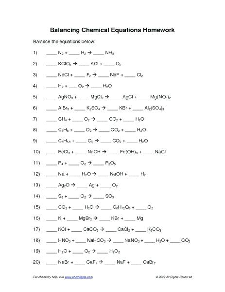 Balancing Chemical Equations Worksheet Answers Worksheets With