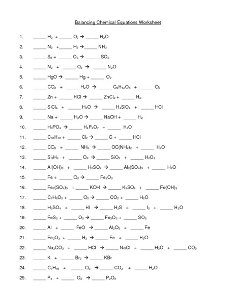 Balancing Chemical Equations Worksheet With Answer Key ...