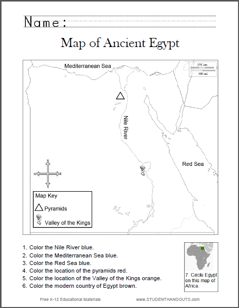Map Of Ancient Egypt Worksheet For Kids, Grades 1