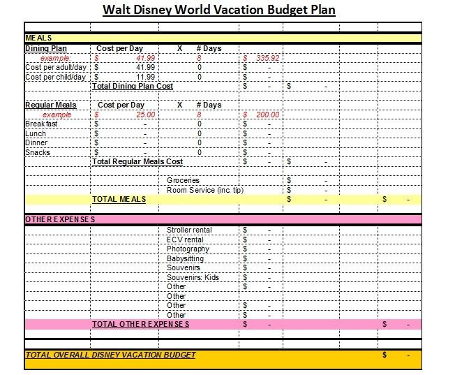 Affordable Disney Vacation Planning Worksheets