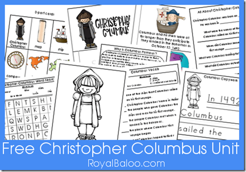 Free Christopher Columbus Unit Printables