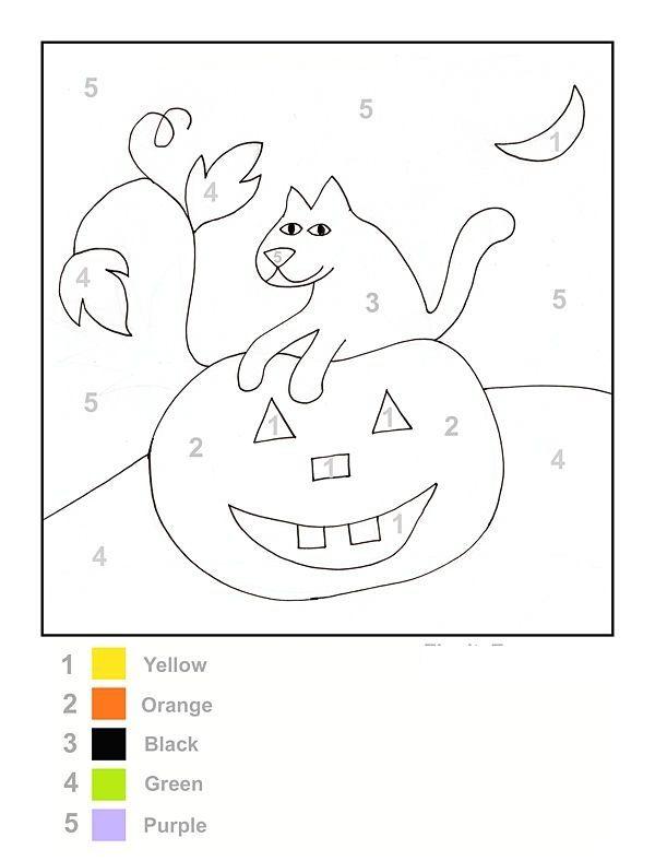 Color By Number Halloween Worksheet