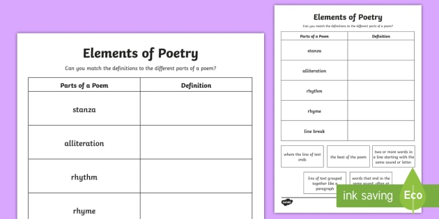 Cfe Second Level Elements Of Poetry Worksheet   Activity