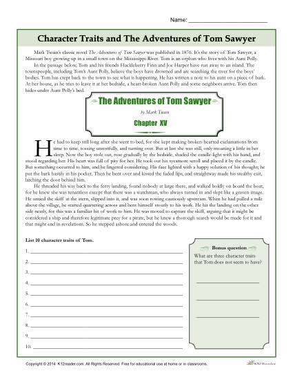 Character Traits Worksheets