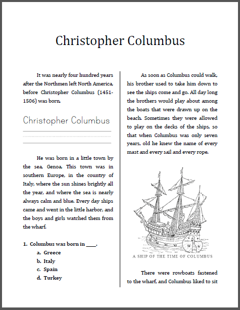 Christopher Columbus Workbook For Grades 1