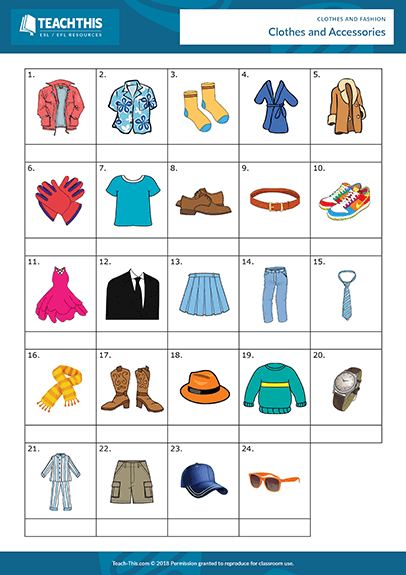Clothes Fashion Esl Activities Games Worksheets