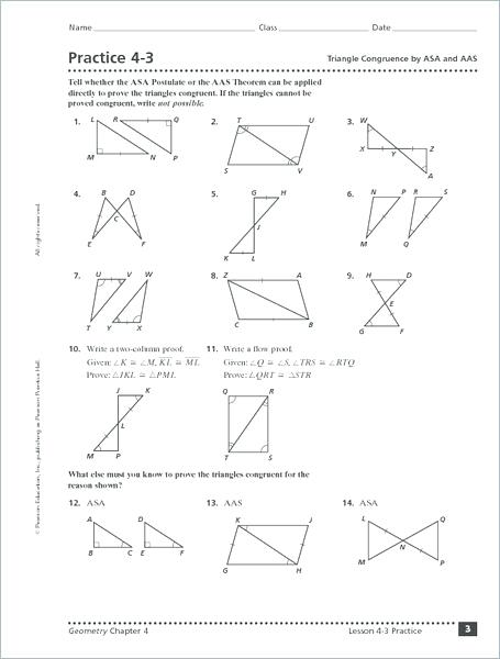 Congruent Triangles Worksheet Mp3497
