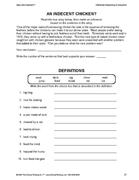 Critical Thinking Worksheet Grades K