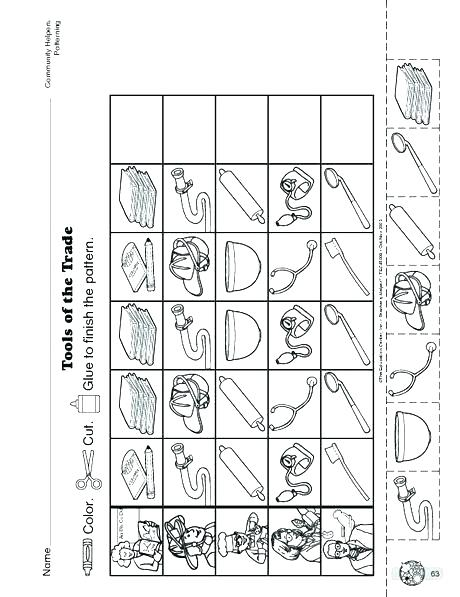 Community Helpers Cut Paste Worksheet 6 And Their Tools Worksheets