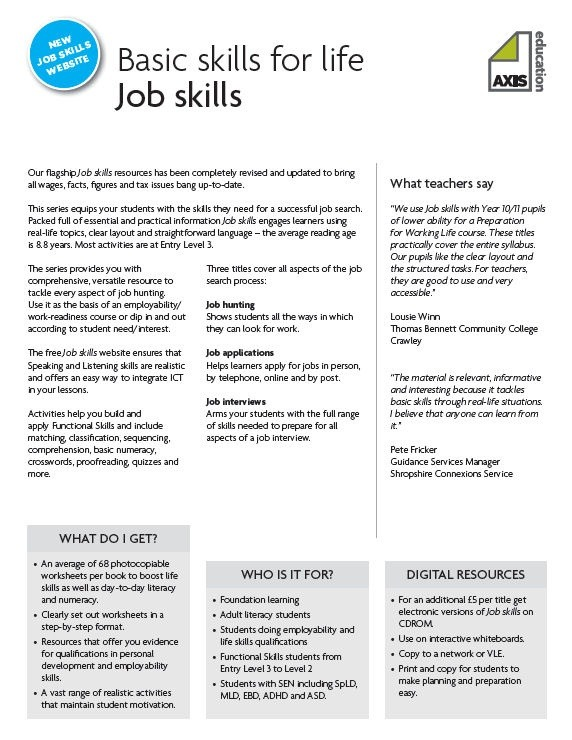 A Selection Of 5 Worksheets From Axis Education's Job Skills
