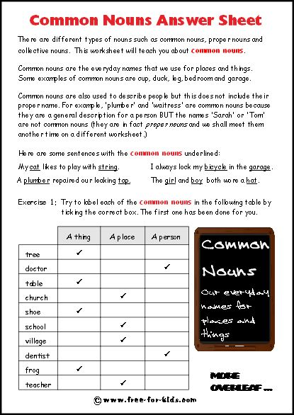 Image Of Blank Common Nouns Worksheet Answers
