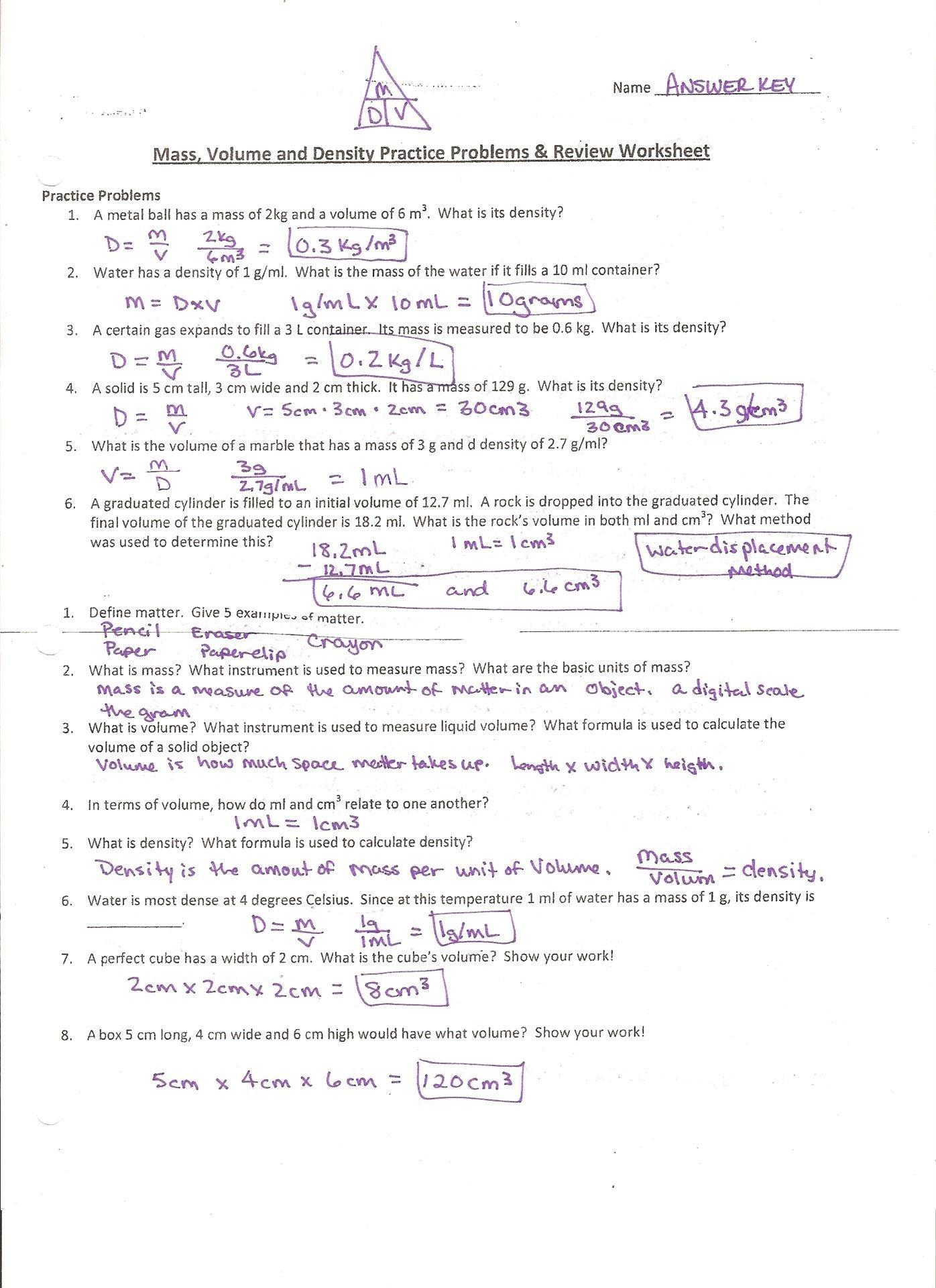 Density Calculations Worksheet 1