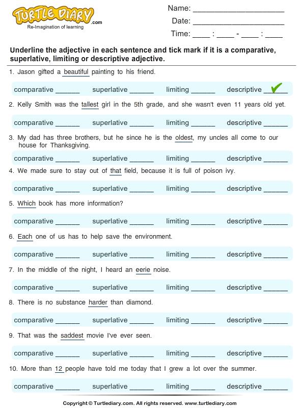 Descriptive Adjectives Worksheets Worksheets For All