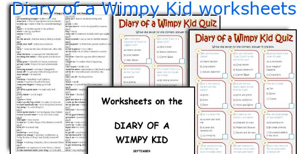 Diary Of A Wimpy Kid Worksheets