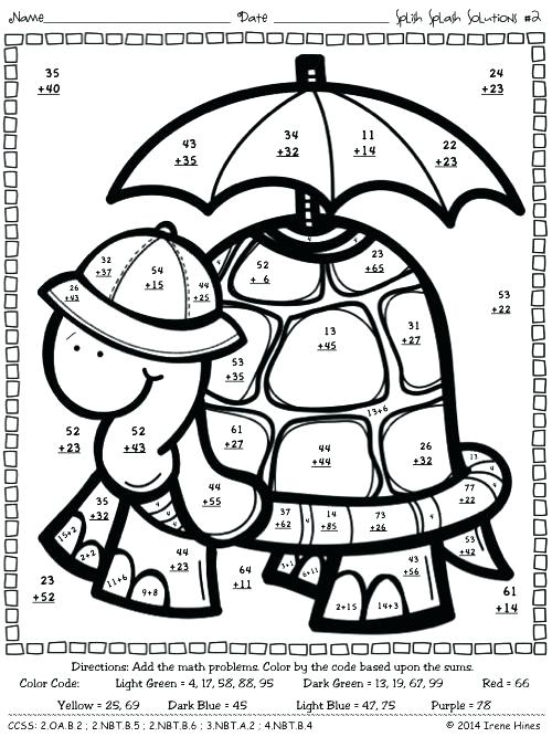 Coloring Pages ~ Double Digit Addition Coloring Worksheets
