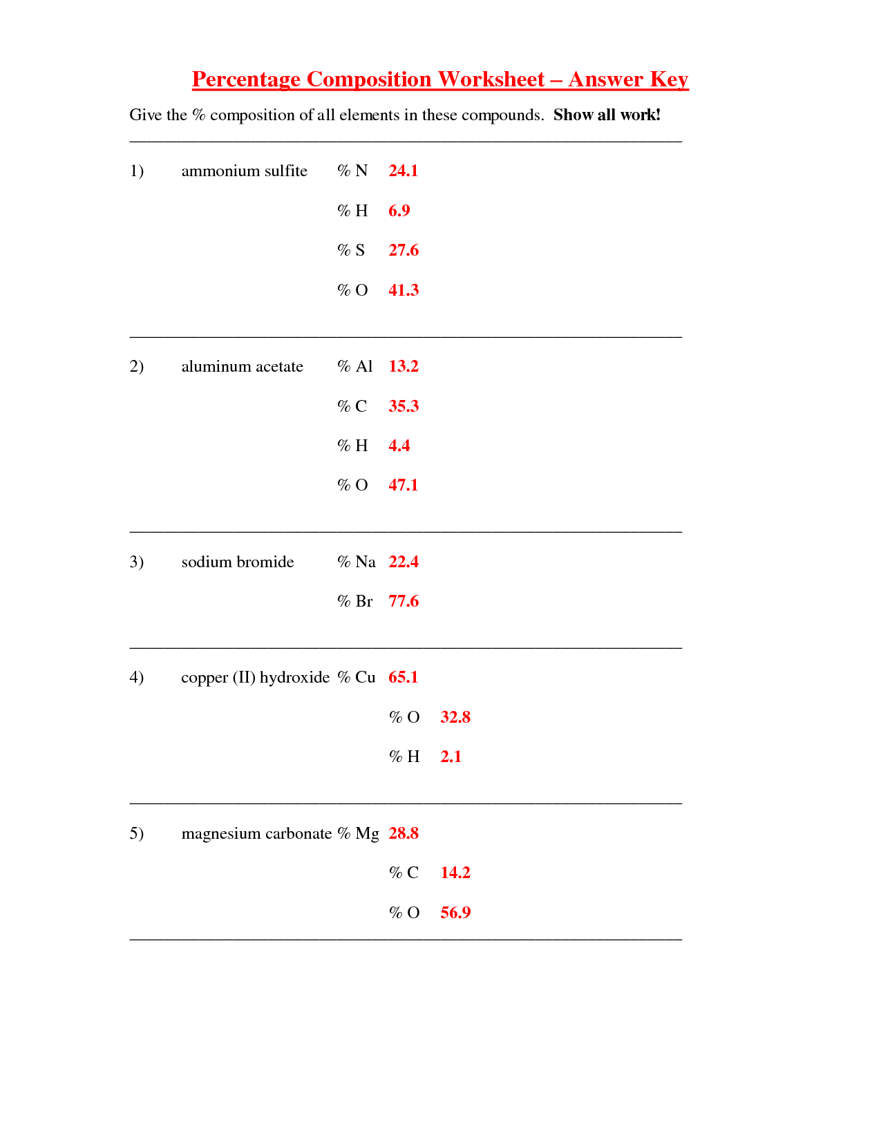 Percent Composition Of A Substance Worksheet