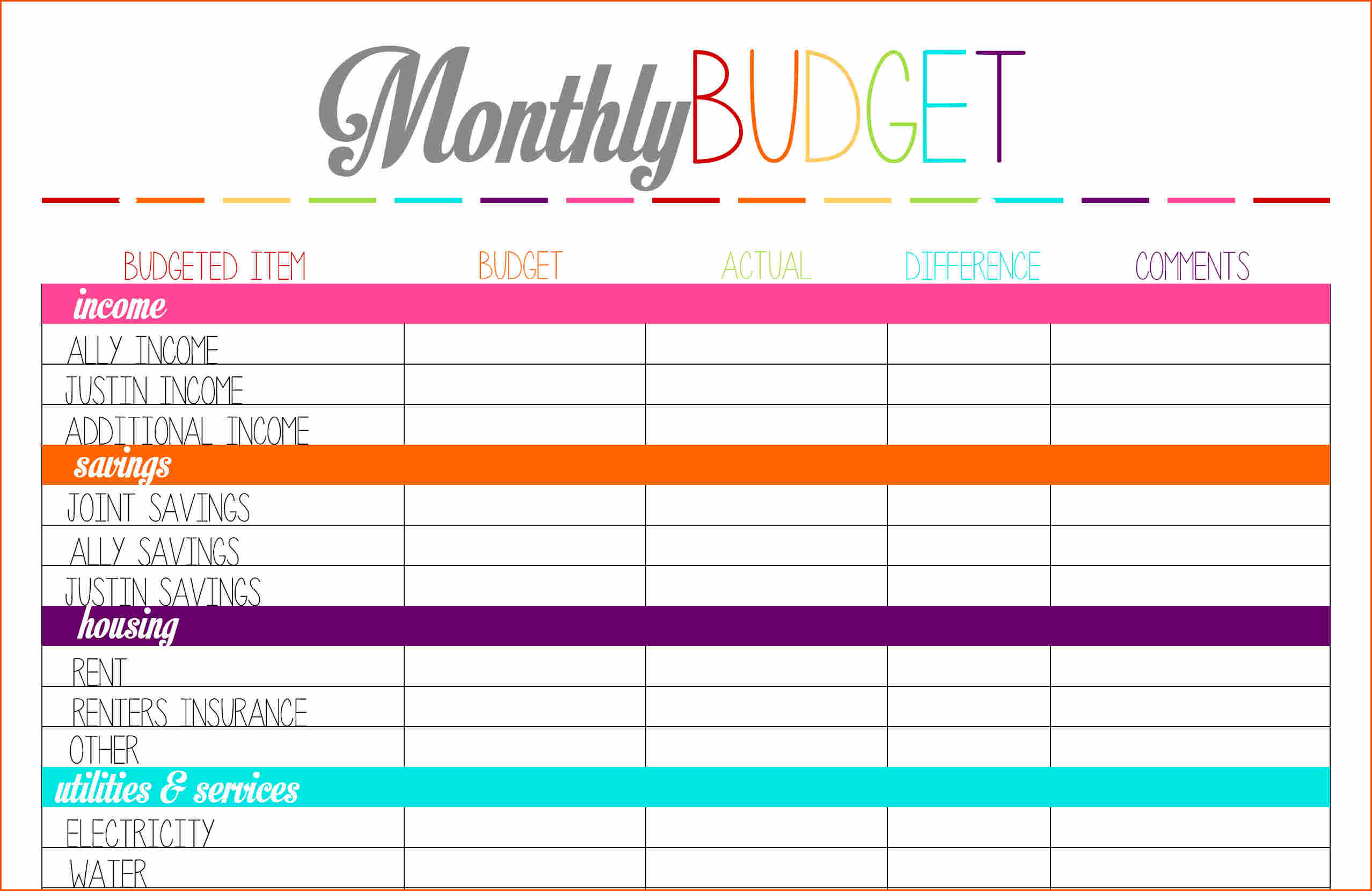 Free Printable Monthly Budget Worksheet Personal Weeklymonthly