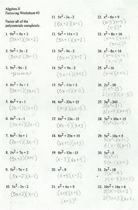 Factoring Polynomials Worksheet With Answer Key Worksheets For All