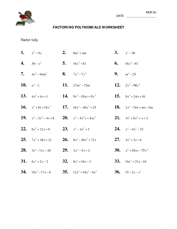 Factoring Polynomials Worksheet With Answers Algebra 2  Algebra