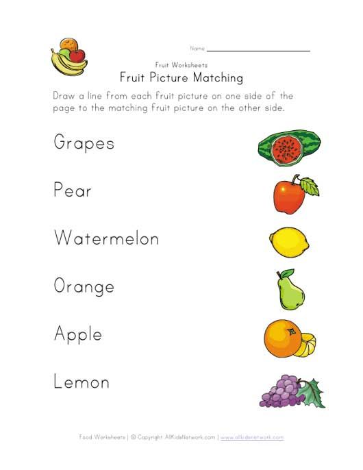 Names Of Fruits Worksheets