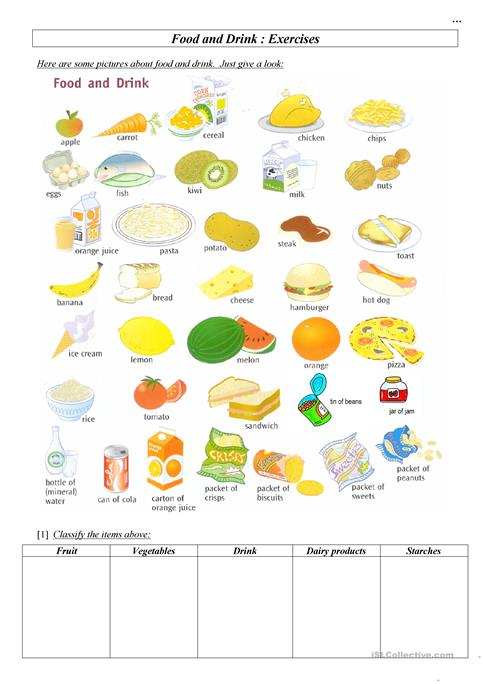 Worksheets Food