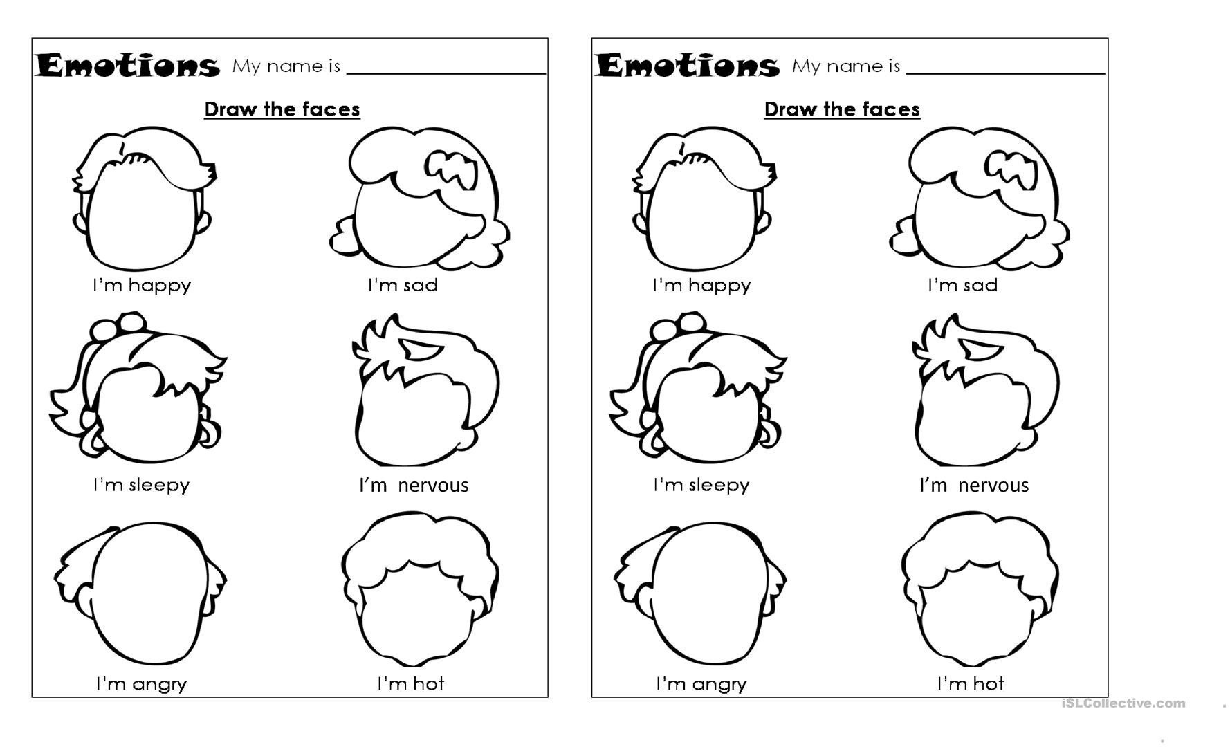 Feelings And Emotions Worksheets Printable Fresh Emotions Cut And
