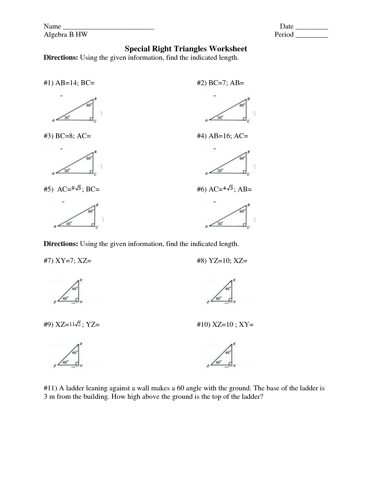 Special Right Triangles Worksheet Page 24