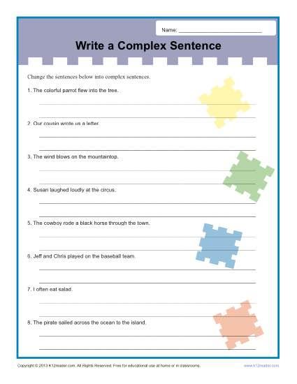 Write A Complex Sentence Worksheet