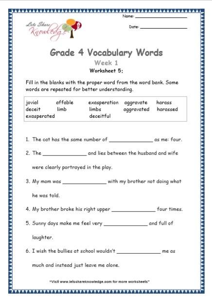 Grade 4  Vocabulary Worksheets Week 1