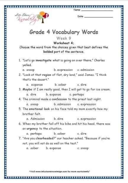 Grade 4  Vocabulary Worksheets Week 9