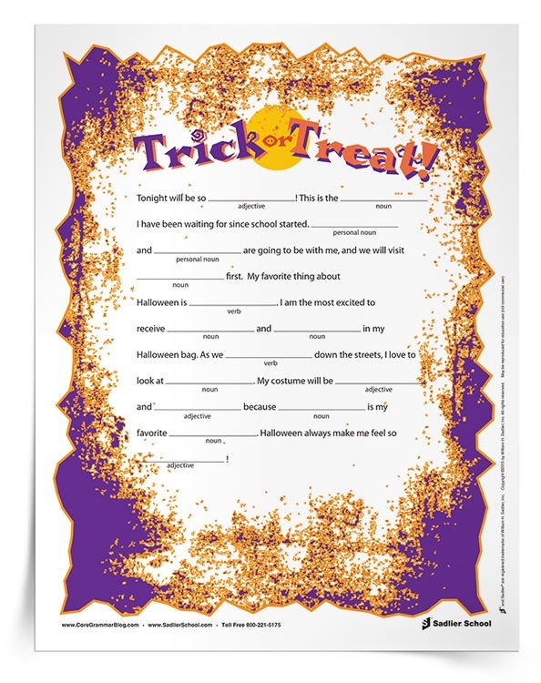 Halloween Grammar Parts Of Speech Worksheets For Grades 3–5