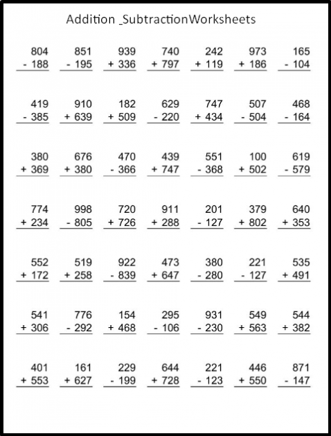 Long Addition And Subtraction Worksheets