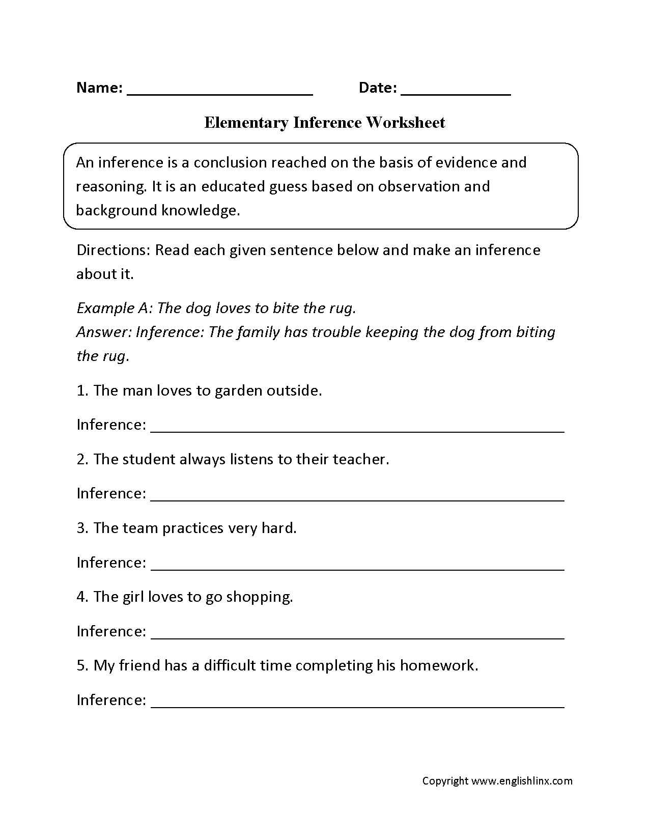 Inference Worksheet For 4th Grade