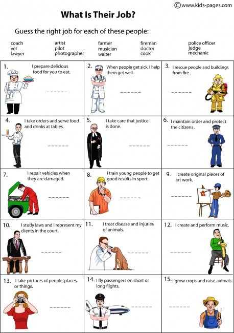 Unit 3  Occupations  Printable Worksheets  What Is Their Job