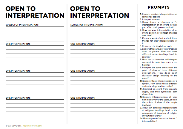 Interpretations (journal Worksheet Wednesday)