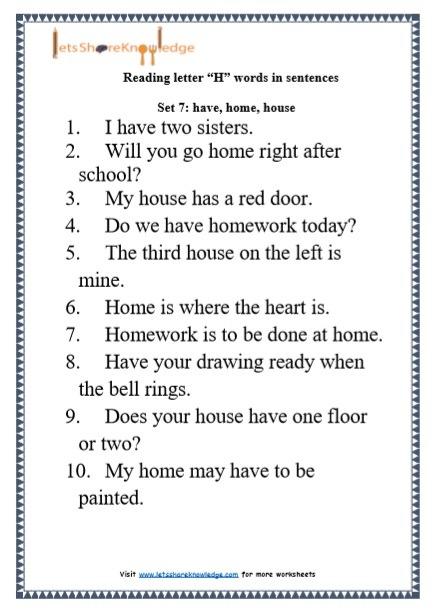 Kindergarten Reading Practice For Letter  H  Words In Sentences