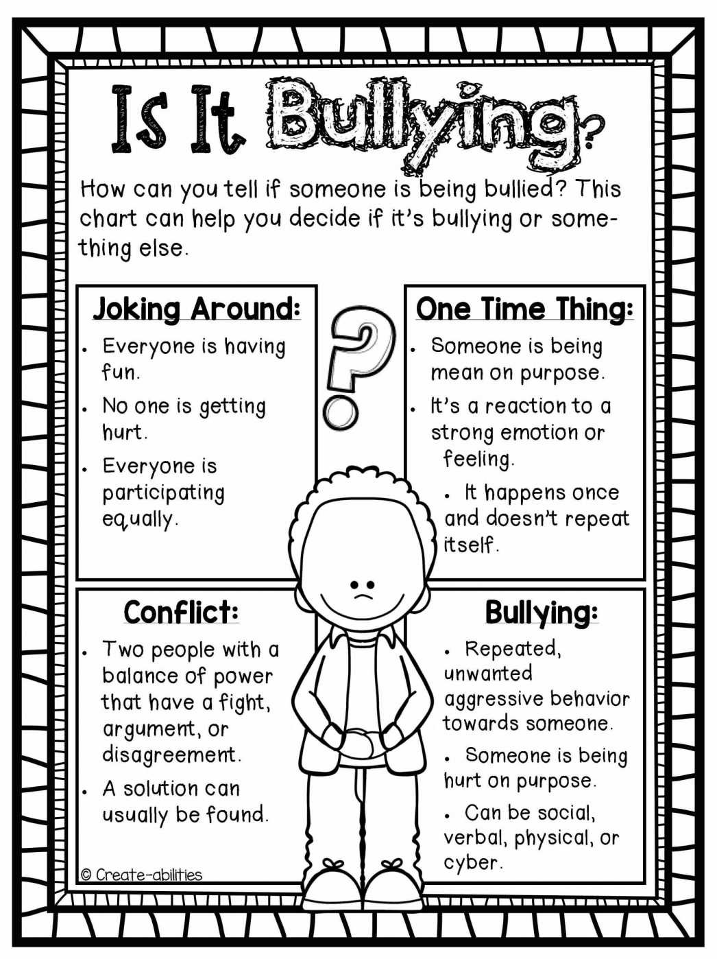 Bullying Is Exclusion Bullying Worksheets For Kindergarten